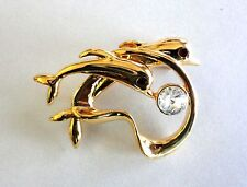 New Brooch Dolphin Gold Plated Heart Jewelry Pin Clear Crystal Free Shipping