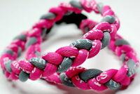 "NEW! BASEBALL Titanium TORNADO Sport Necklaces 20"" Pink Gray Grey Braided 3 ROPE"