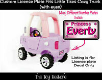 Princess Replacement Decal for Little Tikes Cozy Truck License Number Plate