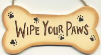 WIPE YOUR PAWS funny country animal paw wooden wall home decor plaque Sign 8x5""