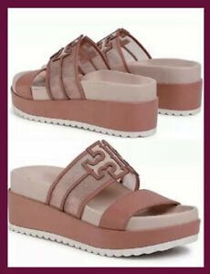 $258 TORY BURCH INES MESH PLATFORM WEDGE SLIDE SANDAL LOGO BLUSH LEATHER SZ 9