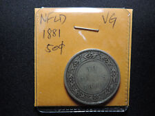 1881 50 Cent Coin Canada Victoria Newfoundlnad Fifty Cents .925 Silver VG grade