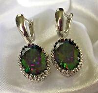 W Oval Rainbow Aura Quartz Silver White Gold Filled Drop Dangle Earrings Plum UK