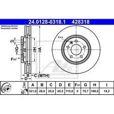 2 Disque de frein ATE 24.0128-0318.1 OPEL VAUXHALL