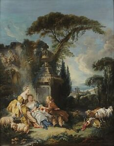 Pastoral scene by Francois  Boucher Canvas Print