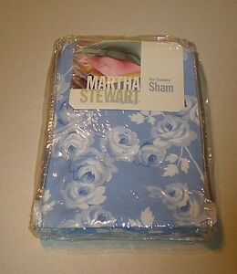 Martha Stewart Everyday ~ Rose Vine Pillow Sham ~ Periwinkle Blue Grey VTG USA