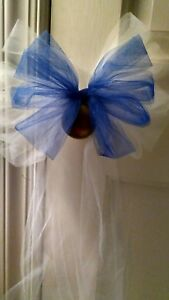 Sale 8pc Wedding White And Royal Blue Tulle Pew Bows OR ANY COLOR  RUSH AVAIL