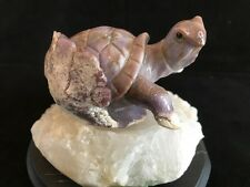 AWESOME TURTLE CARVING, PURPLE CHALCEDONY(RARE) ON CALCITE BASE. GREAT DETAIL!