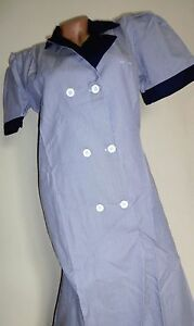 Nurse Dress Double Breasted Pull Over W/ Side Pockets Blue Pin Stripe Size Small