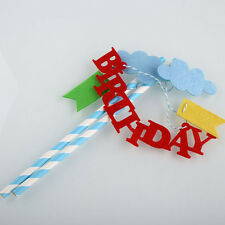 Topper Kit Happy Birthday Cake Topper Flag Banner Party Decoration