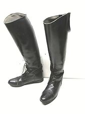 Vintage Women's Size 8Tall Black Leather Equestrian Riding Boots W/ TREE INSERTS