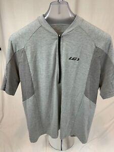 Louis Garneau Men's 1X Cycling Shirt Gray 1/4 Zip Rear Pockets New