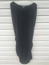 Victoria's Secret Women's Sz Large Dress Black Sleeveless Midi Ruched Sleeveless