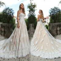 A Line Wedding Dresses Bridal Gowns for Girls Lace Up Corset Champagne Ivory