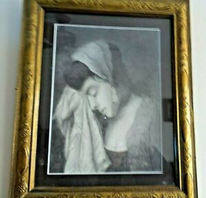 VINTAGE CHARCOAL DRAWING OF YOUNG GIRL ''TEARS'' FRAMED UNDERGLASS SIGNED