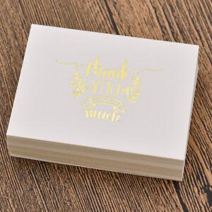 Papier Karten für Nachricht 50Stk. Danke Gold Geburtstagskarte Neu Grußkarten