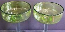 Emerald Green Swirl 2 large Margarita glasses Mexican Glassware Cinco De Mayo B