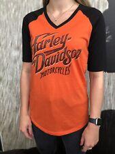 Harley-Davidson® Women's Blend Orange & Black V-Neck T-Shirt Preston England