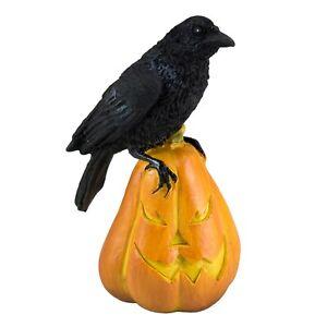 "Mini Miniature Black Gothic Raven Crow On Jack-O-Lantern Pumpkin Figurine 3"" New"