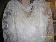 VINTAGE MID LENGTH WEDDING DRESS HAND MADE WITH PEARLS BUST-40 W-36 L-47 SL-26