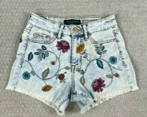 Aeropostale High Waisted Midi Embroidered Floral Flower Shorts size 00