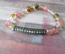 Sparkle Bar Stretch Bracelet with Pink Fire Cherry Quartz Beads