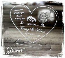 1 Aufsteller Herz groß  inkl. Foto + Text Gravur Geschenkidee Hochzeit Jahrestag