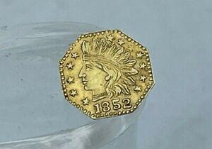 Genuine Rare 1852 Indian Head Octagon Cal California Solid Gold Coin Token