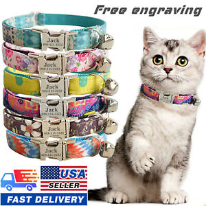 USA Personalized Cat Adjustable Collar Name for Pet Kitten with Engraved ID Tag