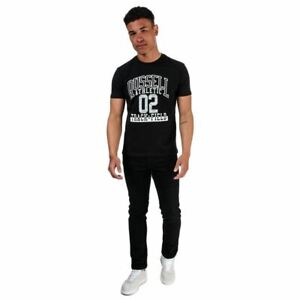 Men's Russell Athletic Track and Field Regular Fit Cotton T-Shirt in Black