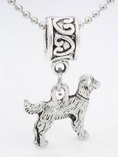 Golden Retriever Dog Charm on Heart Print Slider Bead for Bracelet Or Necklace