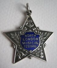 Antique Solid Silver & Blue Enamel Fob Medal NORTH LONDON MUSICAL FESTIVAL 1933