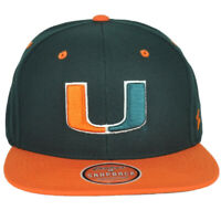 NCAA Zephyr Miami Hurricanes Adult Flat Bill Snapback Men Adjustable Hat Cap