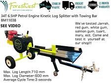 34Ton Petrol Engine Kinetic Log Splitter Firewood Cutter & Towing Bar 2s Split