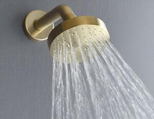 Brushed Gold Brass Round Rain Shower 100mm Bathroom Rain Shower Head with Arm