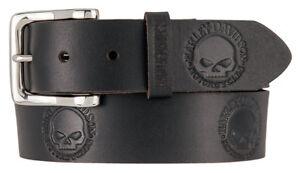 Harley-Davidson Men's Embossed Willie's World Leather Belt, Black HDMBT11332-BLK