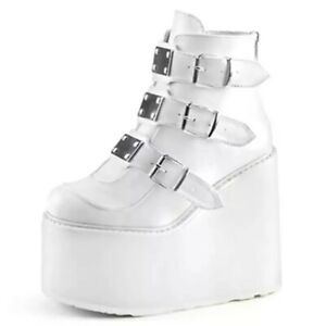 New Women Platform Fashion Ankle Wedges Punk Goth Boots with Buckles Straps