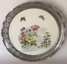 "Art Nouveau Ceramic Round TRAY Nickel Rim Flowers & Butterflies 13 1/2"" European"