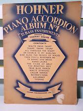 Hohner Piano Accordion Album No 1 - 12 Bass Instruments! Sheet Music Book!