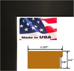 """US ART Frames Black 1.125"""" Black Picture Poster Photo Frame Solid Wood"""