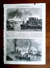 Il bombardamento di sveaborg - 2 scene con testo-ILLUSTRATA London News, 1856