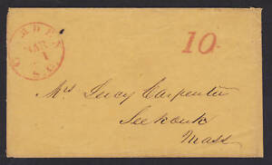 US Stampless Cover, red CAMDEN, SC & red 10 rate mark