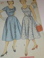 Vtg 50s Simplicity 4661 Half Size Dress in 2 Versions Pattern 37B sz 18 1/2 Unc