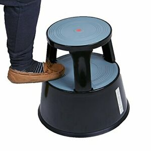 Mind Reader Tall Metal Heavy Duty Rolling Double Step StoolHolds 300 lbs Black