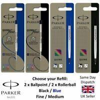 Genuine Parker BALL POINT / ROLLERBALL Refill Medium Fine BLACK /BLUE UK SELLER
