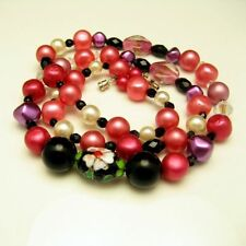 Vintage Necklace Mid Century Cloisonne Crystal Glass Acrylic Beads Pink Black