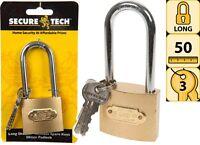 50mm Heavy Duty Steel Long Shackle Padlock Spare Keys D Wide Garage Shed Gate