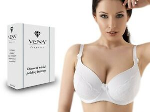 VENA 65 Damen BH Full Cup gepolstert Vollschalen Stickerei Bügel-BH -Weiß