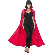 Adult Red Satin Devil Cape with Collar Vampiress Halloween Ladies Fancy Dress
