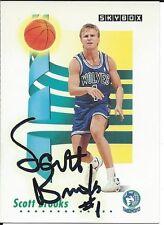 Signed 1991-92 Sky Box Scott Brooks Timberwolves  Basketball card #167